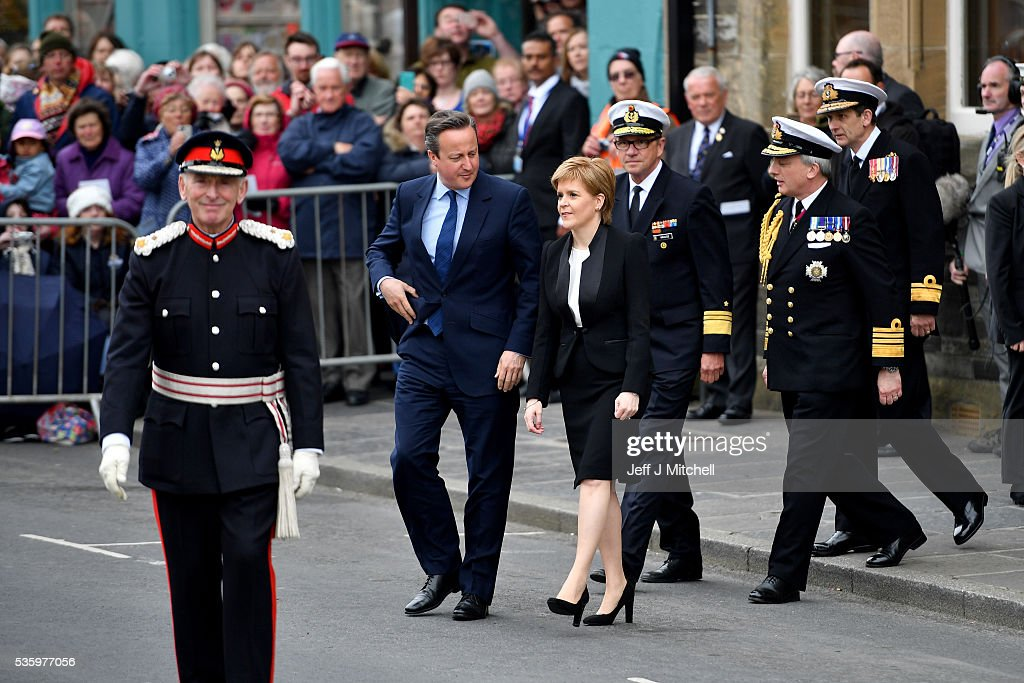 Scotland's First Minister <a gi-track='captionPersonalityLinkClicked' href=/galleries/search?phrase=Nicola+Sturgeon&family=editorial&specificpeople=2582617 ng-click='$event.stopPropagation()'>Nicola Sturgeon</a> and British Prime Minister <a gi-track='captionPersonalityLinkClicked' href=/galleries/search?phrase=David+Cameron+-+Pol%C3%ADtico&family=editorial&specificpeople=227076 ng-click='$event.stopPropagation()'>David Cameron</a> attend the commemorations of the 100th anniversary of the Battle of Jutland at St Magnus Cathedral on May 31, 2016 in Kirkwall,Scotland. The event marks the centenary of the largest naval battle of World War One where more than 6,000 Britons and 2,500 Germans died in the Battle of Jutland fought near the coast of Denmark on 31 May and 1 June 1916.