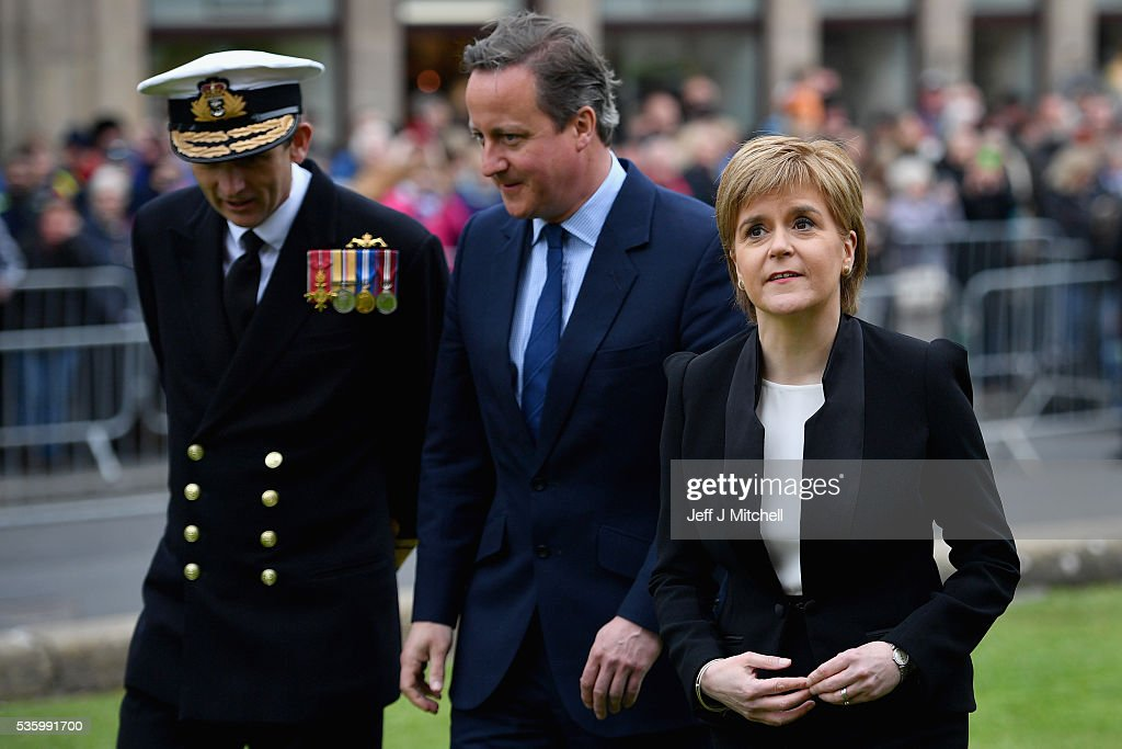 Scotland's First Minister <a gi-track='captionPersonalityLinkClicked' href=/galleries/search?phrase=Nicola+Sturgeon&family=editorial&specificpeople=2582617 ng-click='$event.stopPropagation()'>Nicola Sturgeon</a> and British Prime Minister <a gi-track='captionPersonalityLinkClicked' href=/galleries/search?phrase=David+Cameron+-+Politiker&family=editorial&specificpeople=227076 ng-click='$event.stopPropagation()'>David Cameron</a> attend the commemorations of the 100th anniversary of the Battle of Jutland at St Magnus Cathedral on May 31, 2016 in Kirkwall,Scotland. The event marks the centenary of the largest naval battle of World War One where more than 6,000 Britons and 2,500 Germans died in the Battle of Jutland fought near the coast of Denmark on 31 May and 1 June 1916