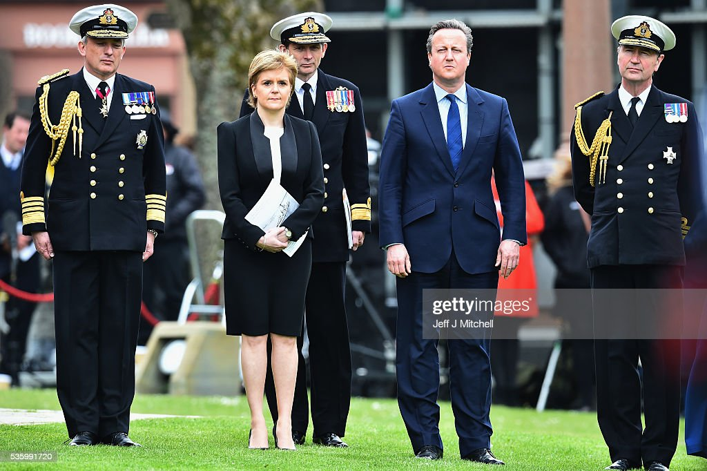 Scotland's First Minister <a gi-track='captionPersonalityLinkClicked' href=/galleries/search?phrase=Nicola+Sturgeon&family=editorial&specificpeople=2582617 ng-click='$event.stopPropagation()'>Nicola Sturgeon</a> and British Prime Minister <a gi-track='captionPersonalityLinkClicked' href=/galleries/search?phrase=David+Cameron+-+Politico&family=editorial&specificpeople=227076 ng-click='$event.stopPropagation()'>David Cameron</a> attend the commemorations of the 100th anniversary of the Battle of Jutland at St Magnus Cathedral on May 31, 2016 in Kirkwall,Scotland. The event marks the centenary of the largest naval battle of World War One where more than 6,000 Britons and 2,500 Germans died in the Battle of Jutland fought near the coast of Denmark on 31 May and 1 June 1916