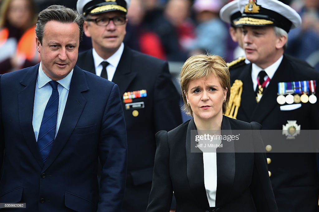 Scotland's First Minister <a gi-track='captionPersonalityLinkClicked' href=/galleries/search?phrase=Nicola+Sturgeon&family=editorial&specificpeople=2582617 ng-click='$event.stopPropagation()'>Nicola Sturgeon</a> and British Prime Minister <a gi-track='captionPersonalityLinkClicked' href=/galleries/search?phrase=David+Cameron+-+Pol%C3%ADtico&family=editorial&specificpeople=227076 ng-click='$event.stopPropagation()'>David Cameron</a> attend the 100th anniversary commemorations for the Battle of Jutland at St Magnus Cathedral on May 31, 2016 in Kirkwall, Scotland. The event marks the centenary of the largest naval battle of World War One where more than 6,000 Britons and 2,500 Germans died in the Battle of Jutland fought near the coast of Denmark on 31 May and 1 June 1916