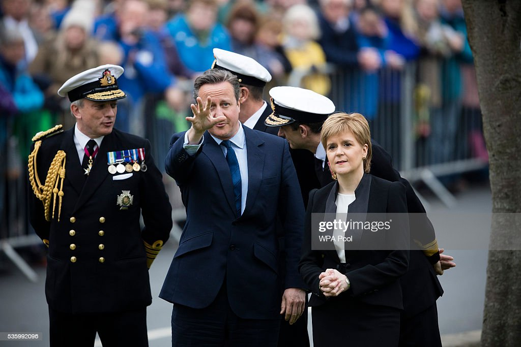 Scotland's First Minister <a gi-track='captionPersonalityLinkClicked' href=/galleries/search?phrase=Nicola+Sturgeon&family=editorial&specificpeople=2582617 ng-click='$event.stopPropagation()'>Nicola Sturgeon</a> and British Prime Minister <a gi-track='captionPersonalityLinkClicked' href=/galleries/search?phrase=David+Cameron+-+Pol%C3%ADtico&family=editorial&specificpeople=227076 ng-click='$event.stopPropagation()'>David Cameron</a> attend attend commemorations of the 100th anniversary of the Battle of Jutland at St Magnus Cathedral on May 31, 2016 in Kirkwall, Scotland. The event marks the centenary of the largest naval battle of World War One where more than 6,000 Britons and 2,500 Germans died in the Battle of Jutland fought near the coast of Denmark on 31 May and 1 June 1916.