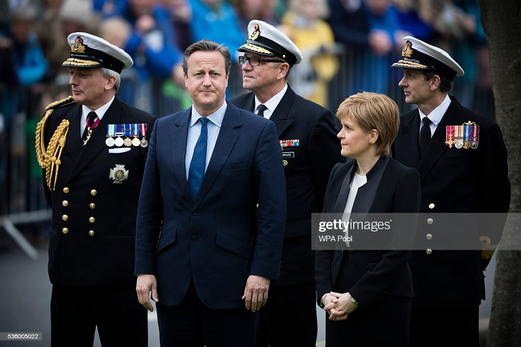 Scotland's First Minister <a gi-track='captionPersonalityLinkClicked' href=/galleries/search?phrase=Nicola+Sturgeon&family=editorial&specificpeople=2582617 ng-click='$event.stopPropagation()'>Nicola Sturgeon</a> and British Prime Minister <a gi-track='captionPersonalityLinkClicked' href=/galleries/search?phrase=David+Cameron+-+Politico&family=editorial&specificpeople=227076 ng-click='$event.stopPropagation()'>David Cameron</a> attend attend commemorations of the 100th anniversary of the Battle of Jutland at St Magnus Cathedral on May 31, 2016 in Kirkwall, Scotland. The event marks the centenary of the largest naval battle of World War One where more than 6,000 Britons and 2,500 Germans died in the Battle of Jutland fought near the coast of Denmark on 31 May and 1 June 1916.