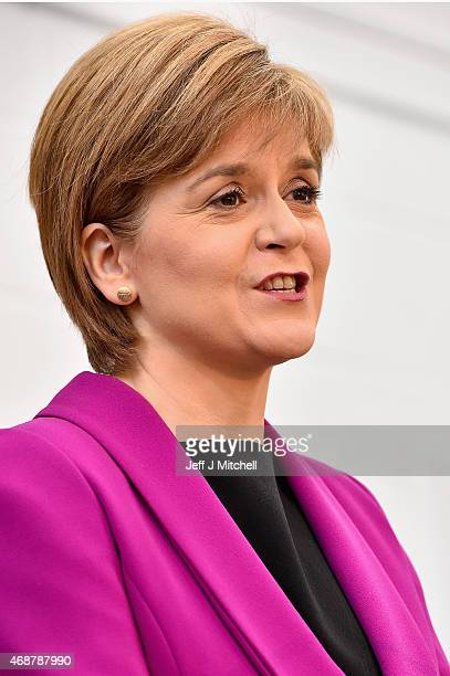 Scotland's First Minister Nicola Sturgeon gives a speech setting out the SNP's plans to reduce child poverty at Forestbank Community Centre on April...