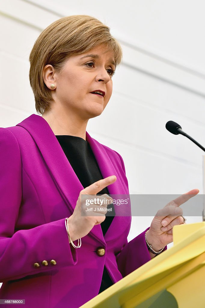 Scotland's First Minister Nicola Sturgeon gives a speech setting out the SNP's plans to reduce child poverty at Forestbank Community Centre on April 7, 2015 in Livingston, Scotland.The First Minister announced that SNP MP's will use their influence after May's election to combat child poverty in Scotland and across the UK.