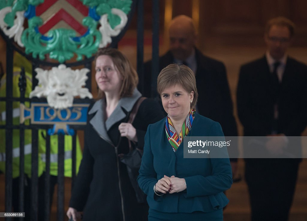 Scotland's First Minister Nicola Sturgeon leaves Cardiff City Hall following a joint ministerial committee (JMC) which includes the leaders from Westminster, Cardiff, Edinburgh and Belfast on January 30, 2017 in Cardiff, Wales. The Prime Minister visit to Cardiff today is the first meeting of the Joint Ministerial Committee since she announced her intention to negotiate a 'hard' Brexit.
