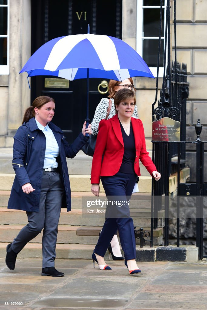Scotland's First Minister Nicola Sturgeon leaves her official residence Bute House in Charlotte Square, to take part in a talk during the Edinburgh International Book Festival which is held annually across the road in Charlotte Square Gardens, on August 18, 2017 in Edinburgh, Scotland. Ms Sturgeon was taking part in a Book Festival event titled 'Life Under Public Scrutiny'.