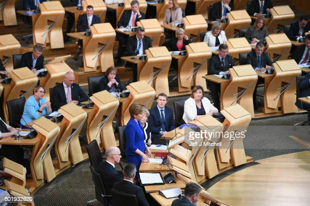 Scotland's First Minister Nicola Sturgeon making an announcement to parliament regarding a second Scottish Independence Referendum on June 27...