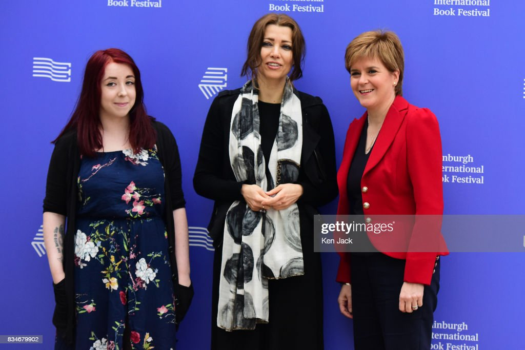 Scotland's First Minister Nicola Sturgeon (R) poses for photographs with author Elif Shafak (C) and publisher Heather McDaid (L) during the Edinburgh International Book Festival on August 18, 2017 in Edinburgh, Scotland. The three were taking part in a Book Festival talk on 'Life Under Public Scrutiny'.