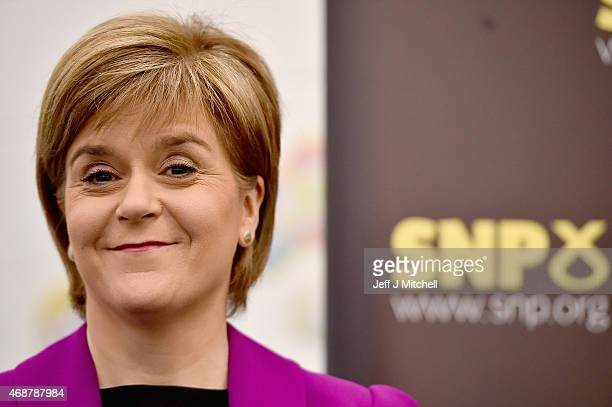Scotland's First Minister Nicola Sturgeon prepares to give a speech setting out the SNP's plans to reduce child poverty at Forestbank Community...