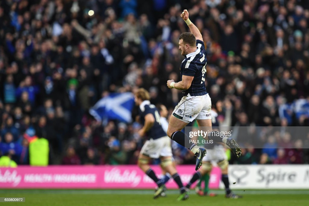 Scotland's full back Stuart Hogg celebrates after winning the Six Nations international rugby union match between Scotland and Ireland at Murrayfield in Edinburgh, Scotland on February 4, 2017. Two late penalties in the last eight minutes by Scotland captain Greig Laidlaw gave his side a thrilling 27-22 Six Nations opening win against Ireland on Saturday. / AFP / Paul ELLIS