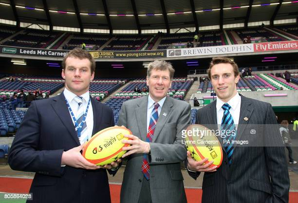 Scotland's Geoff Cross and Mike Blair join their country's Justice Secretary Kenny MacAskill to promote CashBack for Communities Initative