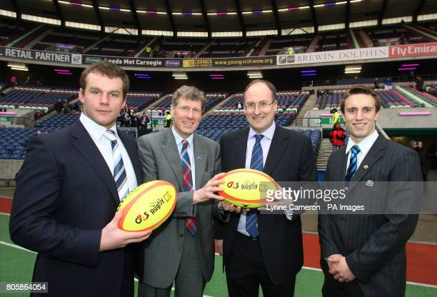 Scotland's Geoff Cross and Mike Blair join their country's Justice Secretary Kenny MacAskill and SRU Chief Executive Gordon McKie to promote CashBack...