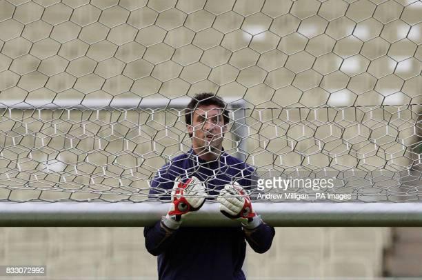 Scotland's goal keeper Alan McGregor during a training session at the Gerhard Hanappi Stadium Vienna Austria