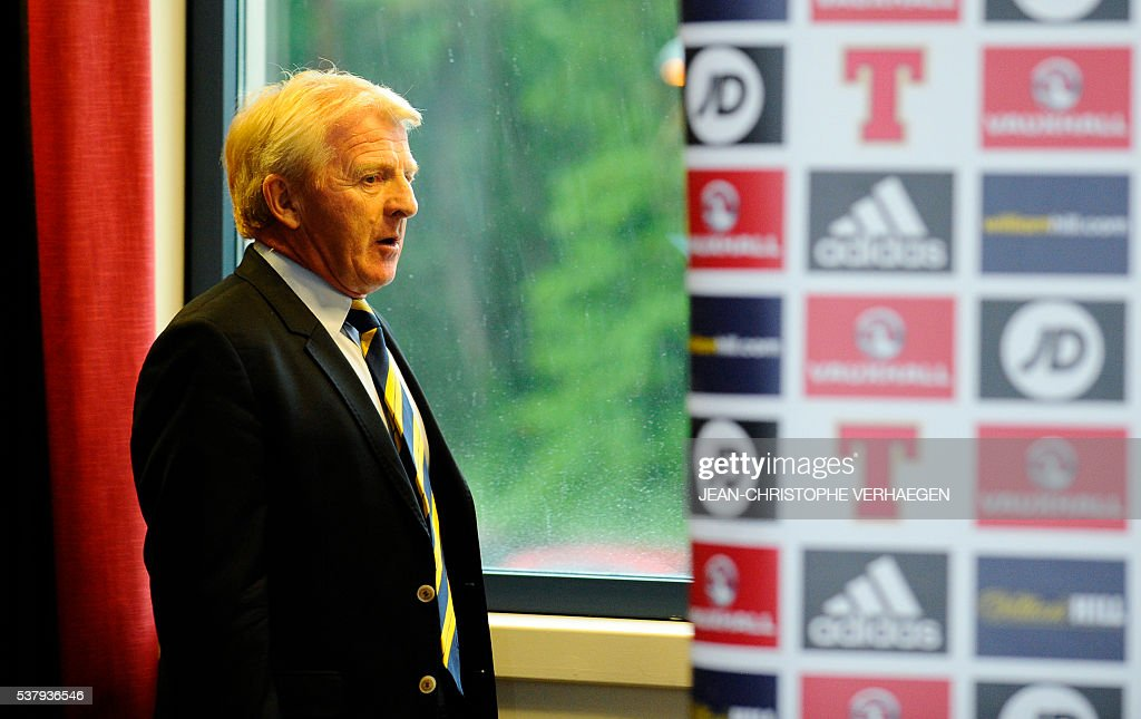 Scotland's head coach Gordon Strachan arrives to a press conference in Amnéville eastern France on June 3 on the eve of the friendly football match...