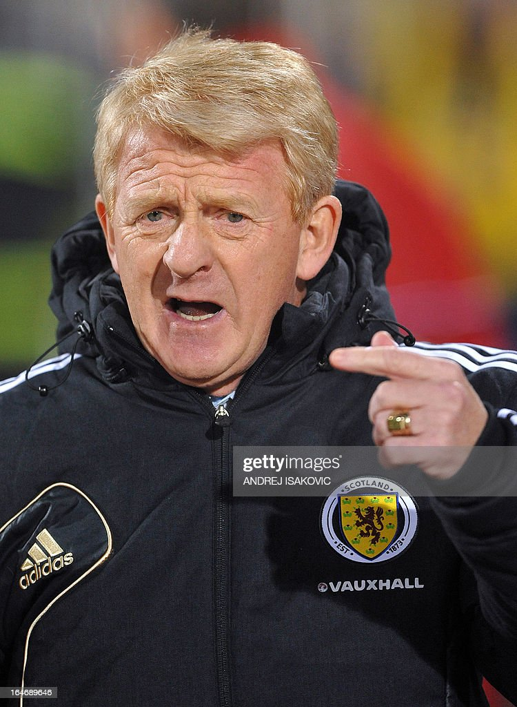 Scotland's head coach Gordon Strachan gestures during the World Cup 2014 qualifying football match between Serbia and Scotland at Karadjordje Stadium in Novi Sad on March 26, 2013.