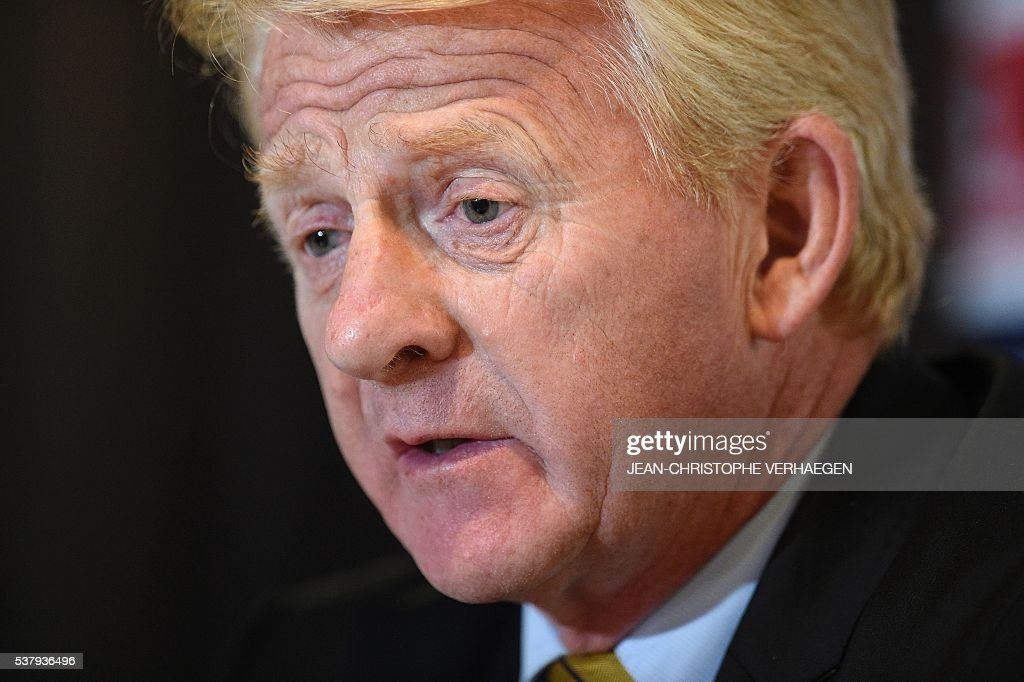Scotland's head coach Gordon Strachan gives a press conference in Amnéville eastern France on June 3 on the eve of the friendly football match...
