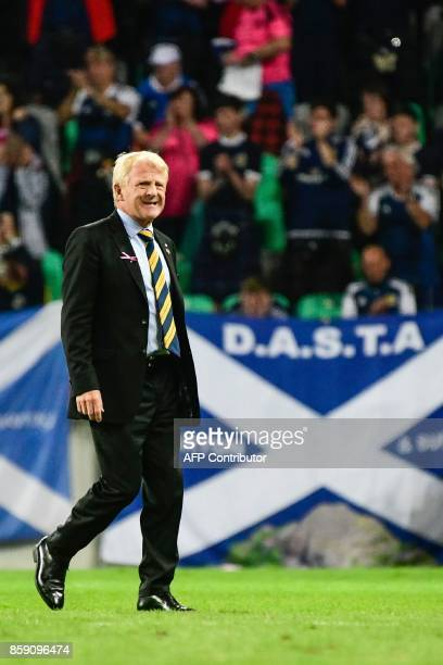 Scotland's head coach Gordon Strachan looks on after the FIFA World Cup 2018 qualification football match between Slovenia and Scotland at the...