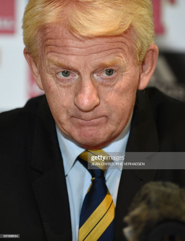 Scotland's head coach Gordon Strachan looks on as he gives a press conference in Amnéville eastern France on June 3 on the eve of the friendly...