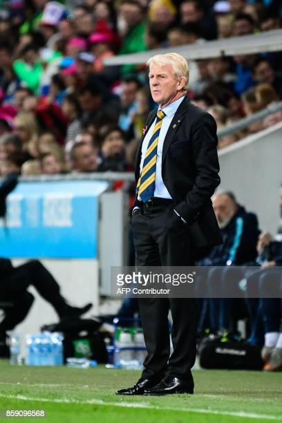 Scotland's head coach Gordon Strachan looks on during the FIFA World Cup 2018 qualification football match between Slovenia and Scotland at the...