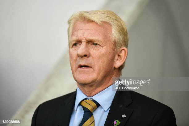 Scotland's head coach Gordon Strachan looks on prior to the FIFA World Cup 2018 qualifier football match between Slovenia and Scotland at the Stozice...