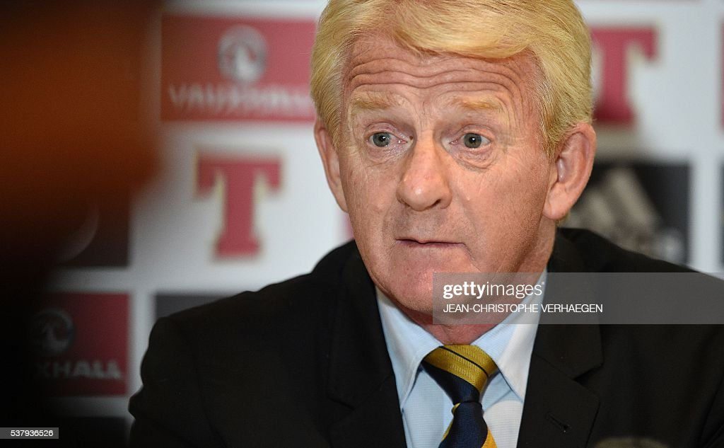 Scotland's head coach Gordon Strachan reacts as he gives a press conference in Amnéville eastern France on June 3 on the eve of the friendly football...