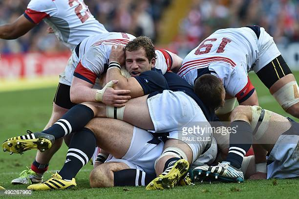 Scotland's hooker Fraser Brown looks on after a ruck during a Pool B match of the 2015 Rugby World Cup between Scotland and USA at Elland Road in...