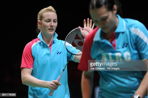 Scotland's Imogen Bankier and Bulgaria's Petya Nedelcheva during day one of the 2013 Yonex All England Badminton Championships at the National Indoor...