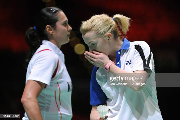 Scotland's Imogen Bankier and Bulgaria's Petya Nedelcheva during day two of the 2013 Yonex All England Badminton Championships at the National Indoor...