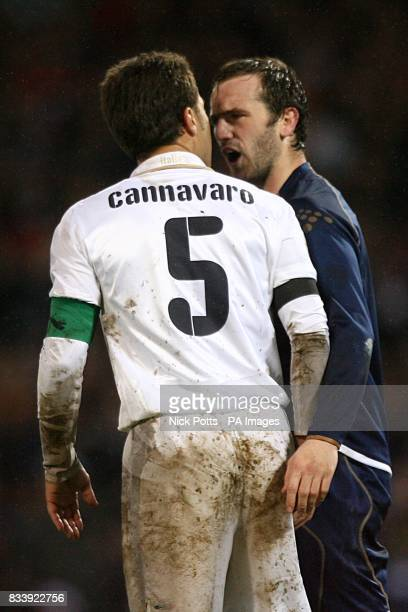 Scotland's James McFadden and Italy's Fabio Cannavaro square up to each other