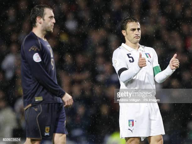 Scotland's James McFadden with Italy's Fabio Cannavaro