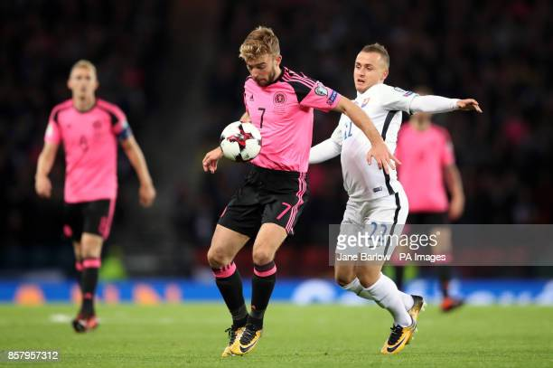 Scotland's James Morrison and Slovakia's Stanislav Lobotka battle for the ball during the 2018 FIFA World Cup Qualifying Group F match at Hampden...
