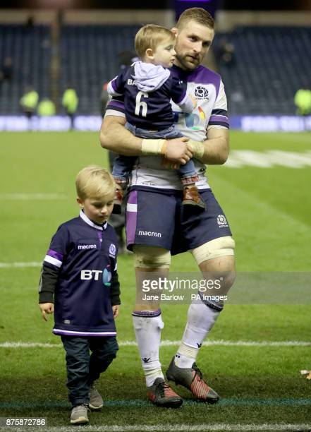 Scotland's John Barclay with sons Finlay and Logan after the final whistle of the Autumn International at BT Murrayfield Edinburgh