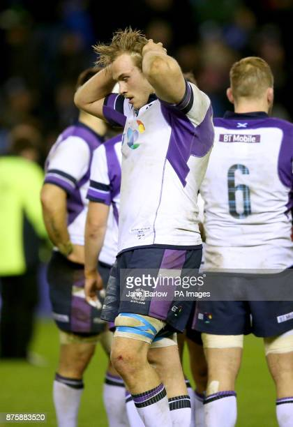 Scotland's Jonny Gray dejected after losing their match against the All Blacks in the Autumn International at BT Murrayfield Edinburgh