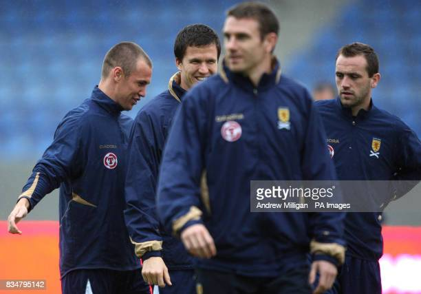 Scotland's Kenny Miller Gary Caldwell and Stephen Mcmanus during the training session at the Laugardalsvollur Stadium Reykjavik