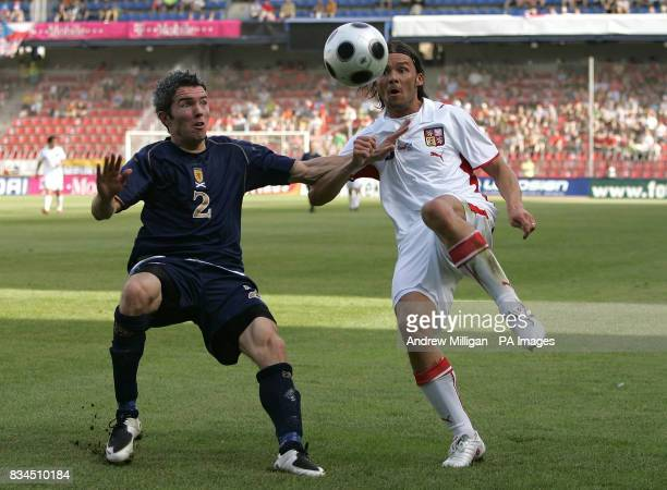 Scotland's Kevin McNaughton and Czech Republic's Marek Jankulovski battle for the ball during the International Friendly match at the Spartan Stadium...