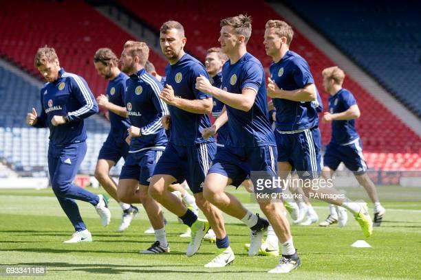 Scotland's Kieran Tierney during the training session at Hampden Park Glasgow