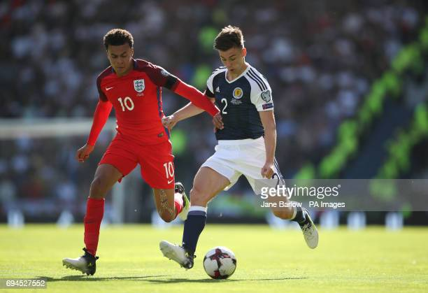 Scotland's Kieran Tierney England's Dele Alli battle for the ball during the 2018 FIFA World Cup qualifying Group F match at Hampden Park Glasgow