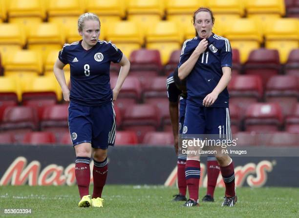 Scotland's Kim Little and Gemma Fay look dejected at full time during the FIFA Women's World Cup qualifying match at Fir Park Motherwell