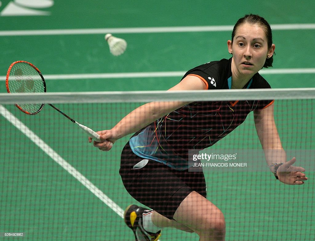 Scotland s Kirsty Gilmour hits a return to Denmark s Anna Thea