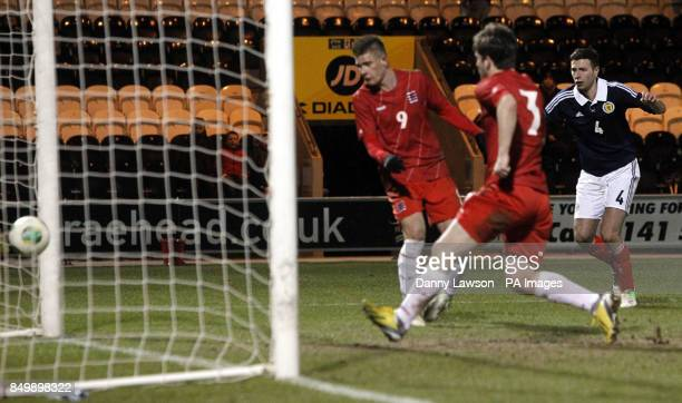 Scotland's Lewis Toshney scores a goall during the UEFA European Under 21's Qualifying match at St Mirren Park Paisley