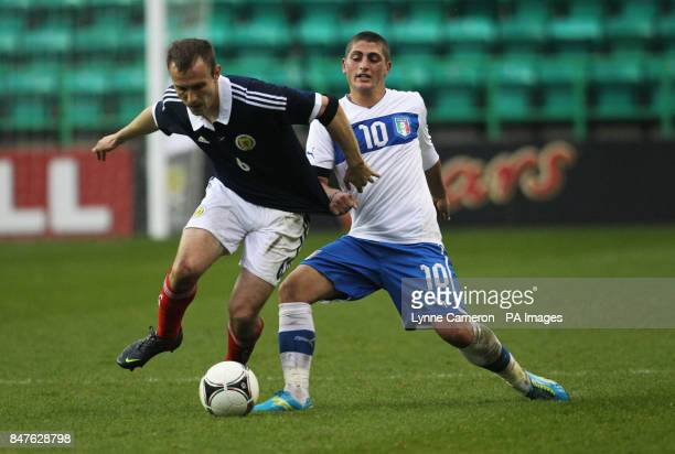 Scotland's Liam Kelly and Italy's Marco Verratti during the Vauxhall U21 International Challenge Match at Easter Road Edinburgh
