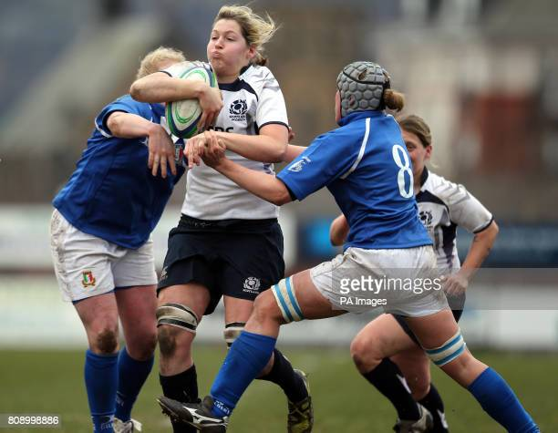 Scotland's Lindsay wheeler and Italy's Silvia Gaudino and Michela Este during the Women's 6 Nations match at Meggetland Edinburgh