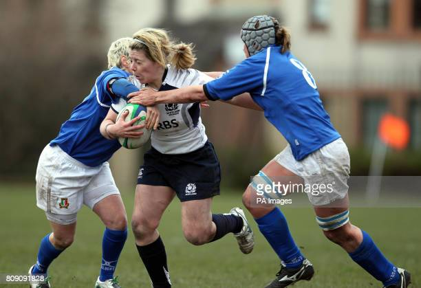 Scotland's Lisa Martin and Italy's Michela Tondinelli and Silvia Gaudino during the Women's 6 Nations match at Meggetland Edinburgh