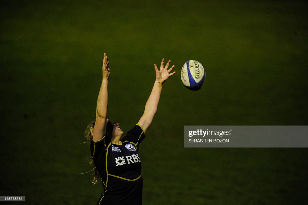 Scotland's lock Lindsay Wheeler misses to catch the ball during the Six Nations women's international rugby union match between France and Scotland at the Bourillot Stadium in Longvic, eastern France, on March 15, 2013.