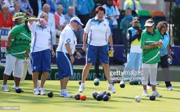 Scotland's Lorraine Malloy in action during the Women's Fours against the Cook Islands