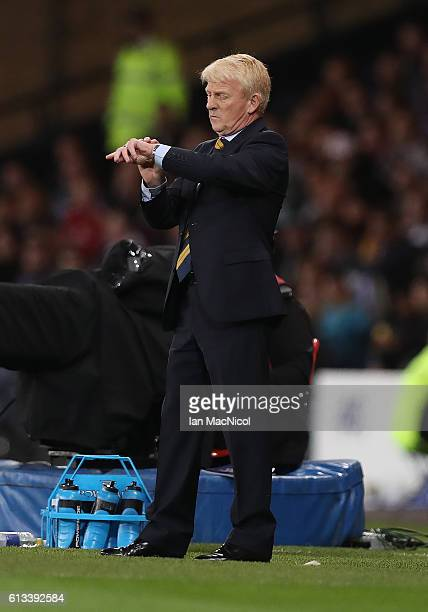 Scotlands manager Gordon Strachan looks at his watch during the FIFA 2018 World Cup Qualifier between Scotland and Lithuania at Hampden Park on...