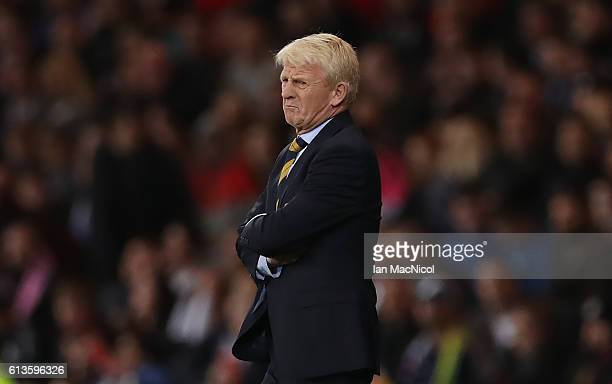 Scotlands manager Gordon Strachan looks on during the FIFA 2018 World Cup Qualifier between Scotland and Lithuania at Hampden Park on October 8 2016...