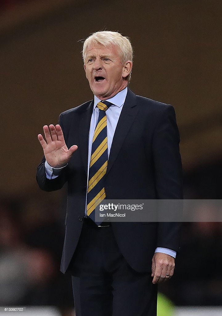 Scotlands manager Gordon Strachan reacts during the FIFA 2018 World Cup Qualifier between Scotland and Lithuania at Hampden Park on October 8, 2016 in Glasgow, Scotland.