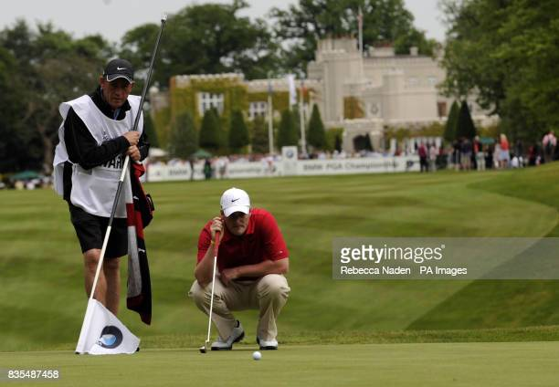 Scotland's Marc Warren prepares to putt on the 1st green during Round 3 of the BMW PGA Championship at Wentworth Golf Club Surrey