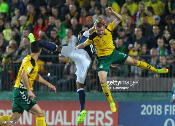 Scotland's Matthew Phillips vies with Lithuania's Georgas Freidgeimas during the FIFA World Cup 2018 qualification football match between Lithuania...